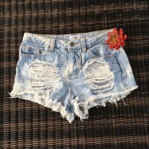 Cello Jeans Destroyed Acid Wash Shorts